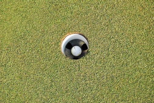 This is where my pitch shot came to rest on the third hole.