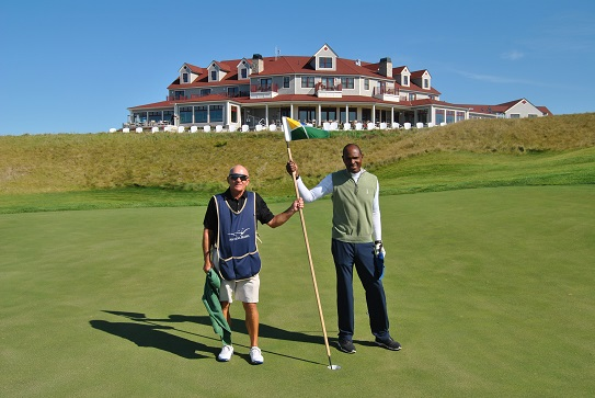 David and I on the 18th green following our round.