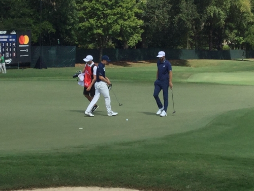Jordan Spieth and Dustin Johnson at the Tour Champion ship