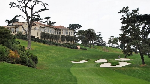 The approach to the 18th green on the Lake Course at The Olympic Club