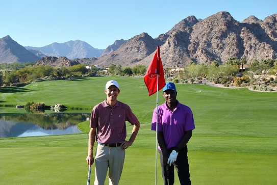 Justin and me following our round. Do I look worn out?