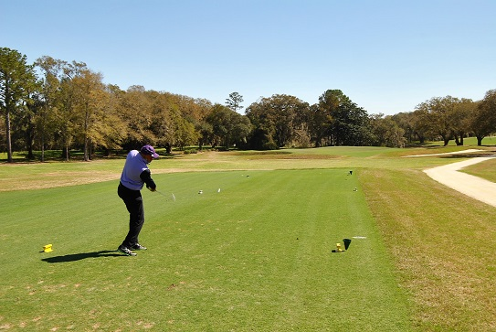 Ron hits his tee shot on the sixth hole.
