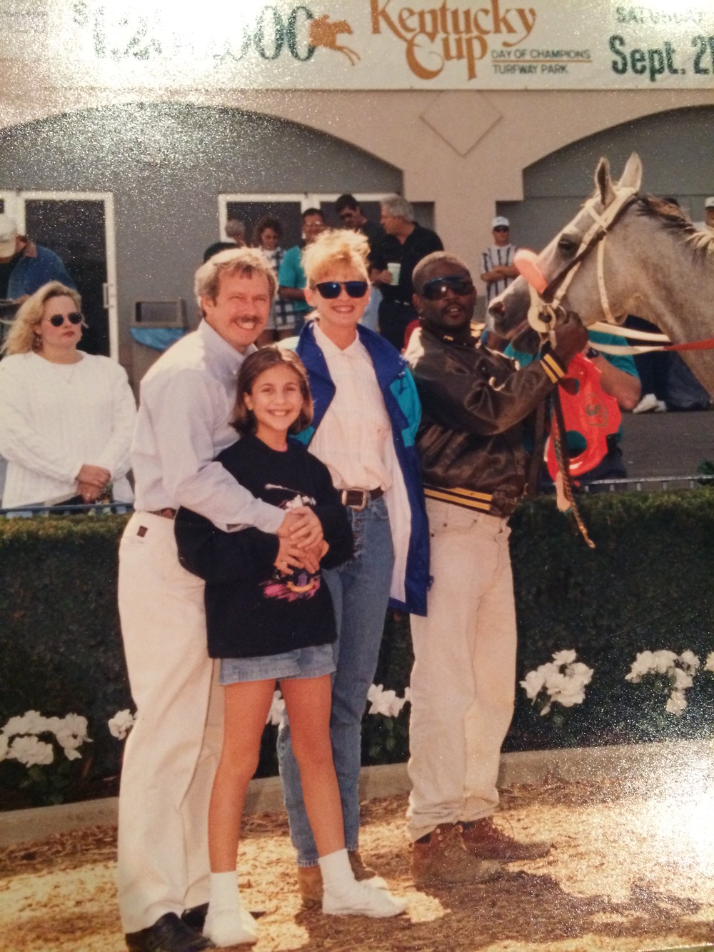 In the Turfway winner's circle with my favorite handicapper many years ago!