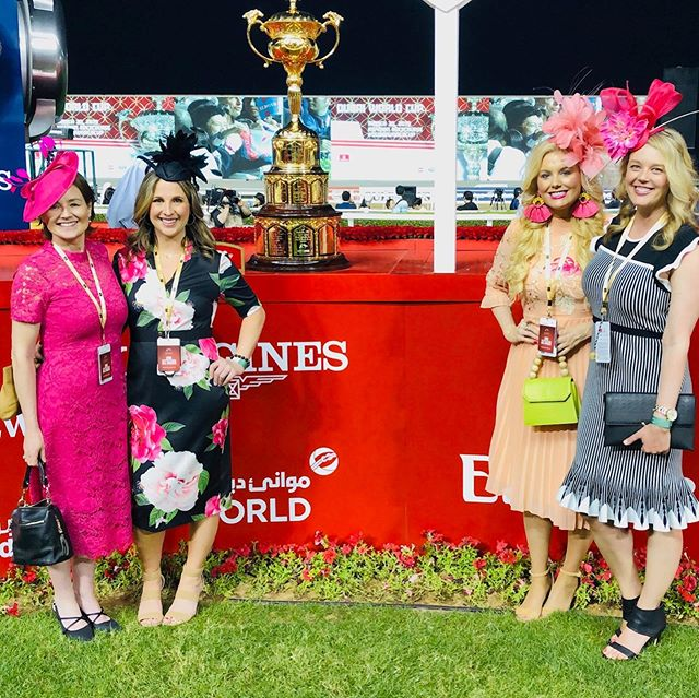 We didn't bring it home, but what a weekend at the #DubaiWorldCup!! So grateful for @starlight_racing and all the experiences it has provided me.  Thank you @albasti_equiworld for being the most incredible hosts! Never picked out a best turned out award before - thanks for the pic @doug_davenport !! My fascinator by @thehatgirls  THANK YOU!  Dress by @ted_baker from @renttherunway !