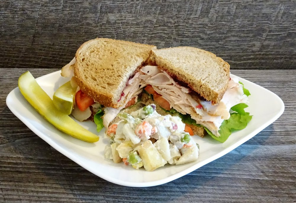 Roasted turkey sandw side potato salad & pickle.JPG