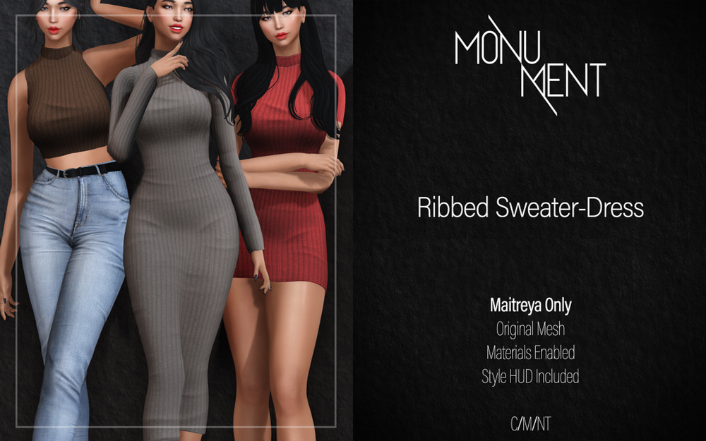 //MONUMENT// - RIBBED SWEATER-DRESS