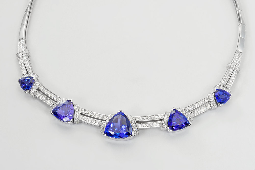 vintage tiffany cut approx tanzanite grace g necklace diamond ctw h co pendant rbc platinum princess w chain