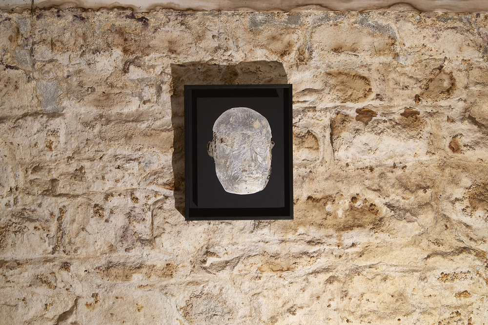 Head of an Unknown Giant  2012-18 Gouache, silver leaf, aluminium leaf, wooden panel 49 x 39 cm   $4,800