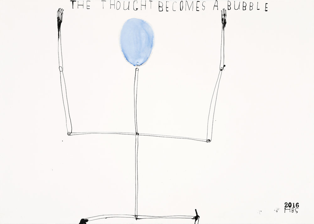 Heather B. Swann    The thought becomes a bubble (blue head)    2016  ink on paper  76.5 x 105 cm