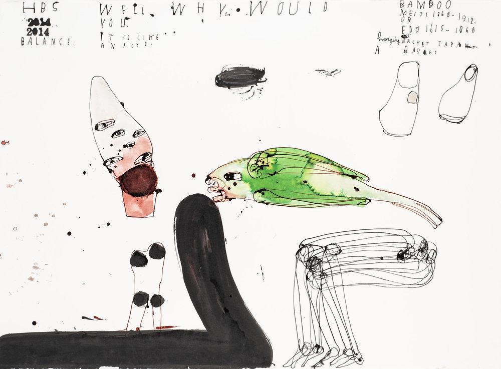 Heather B. Swann   Balance   2014  ink on paper  76.5 x 105 cm