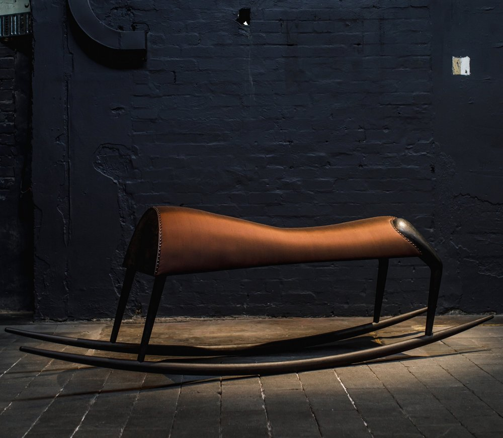 Heather B. Swann   The Long Rock   2018  wood, metal, marble dust, upholstery  270 x 75 x 60 cm  Edition 3