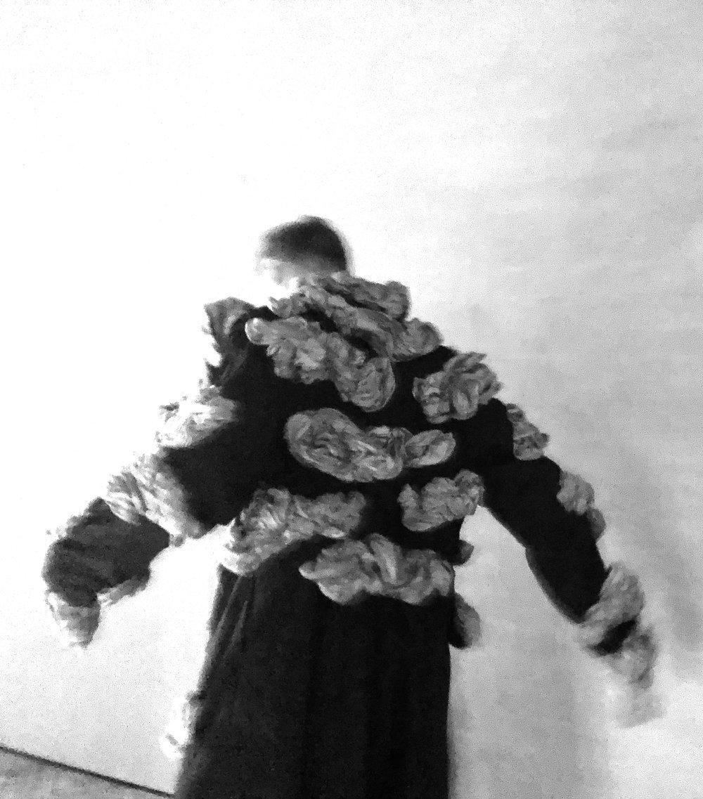 The Sandman  (detail) 2017  silk  installation dimensions variable  performer: joe young