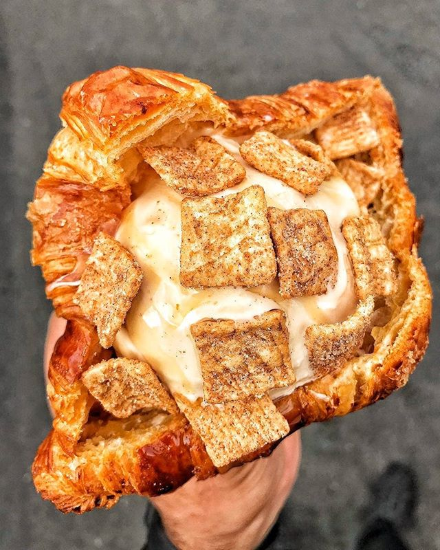 Mondays are rough...sometimes you need to treat 🥐 yo'self to get through the day! (Plus copious amounts of coffee!!! ☕) . . . #hangry #hangrytravelers #croissant #icecream #cinnamon #thehangrytravelers #dessert #werehangrytravelers #monday . Regrann from @mrbiggsmenu -  DOLCE DE LECHE ICE CREAM CINNAMON TOAST CRUNCH IN A FRENCH ASS CROISSANT 🍦🥐 @churnedcreamery #ChurnedCreamery #icecream #yorbalinda #lafoodie #bestfoodla #ocfoodies #foodgasm #foodphotography #cheatmeal #foodblog #nomnom #instafood