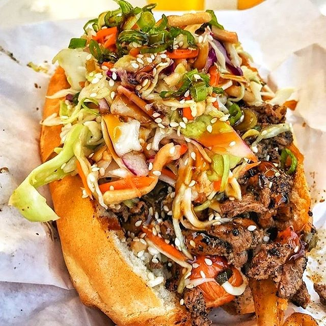 Sometimes all you want on Monday is a simple delicious sandwich🍞. I miss Korean food 😭😭😭 (FL sucks at times.) . . . #korean #kbbq #koreanbbq #sandwich #nomnomnom #hangry #werehangrytravelers #placestotry #food #foodie . . . Regrann from @eater -  An American classic piled high with Korean barbecue 🌭 @goldenroadpubs, LA 📸 @beastlyappetite