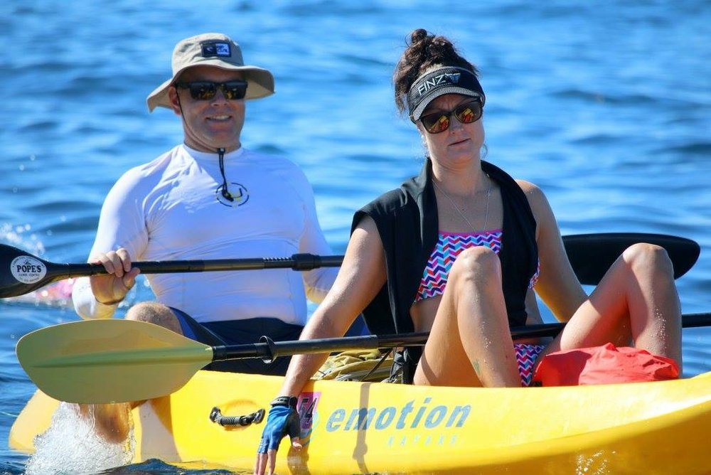 Nicky and Steve Supporting Clair and Sam at Rottnest Island Channel - 2016
