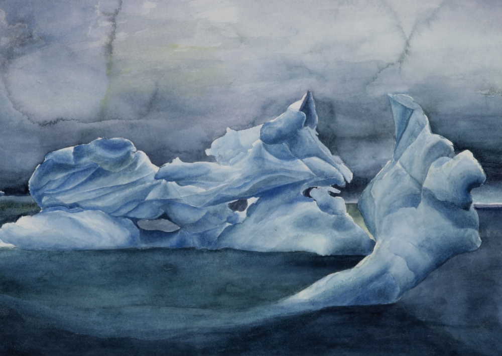Trauma-informed-art-therapy- trauma-counselling-for-Complex-Trauma-CPTSD-and-PTSD-in-Melbourne-with-Melbourne-Psychotherapist-Amanda-Robins-Watercolour-painting-of-an-iceberg-by-Amanda-Robins