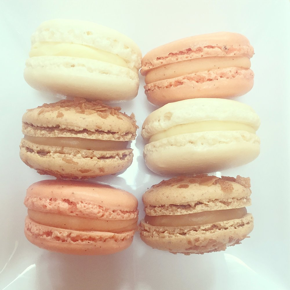 Peach and white Macarons.JPG