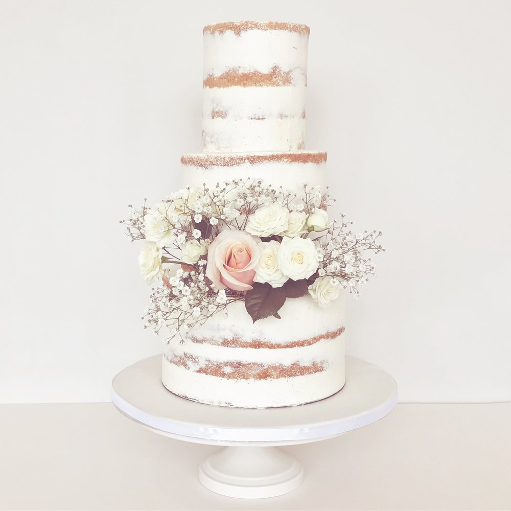 Semi Naked Wedding Cake with Flowers.JPG