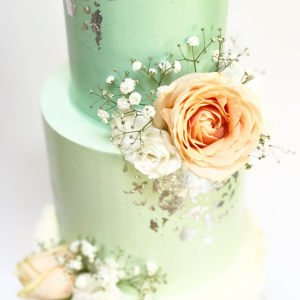 Peach rose on mint green cake.JPG