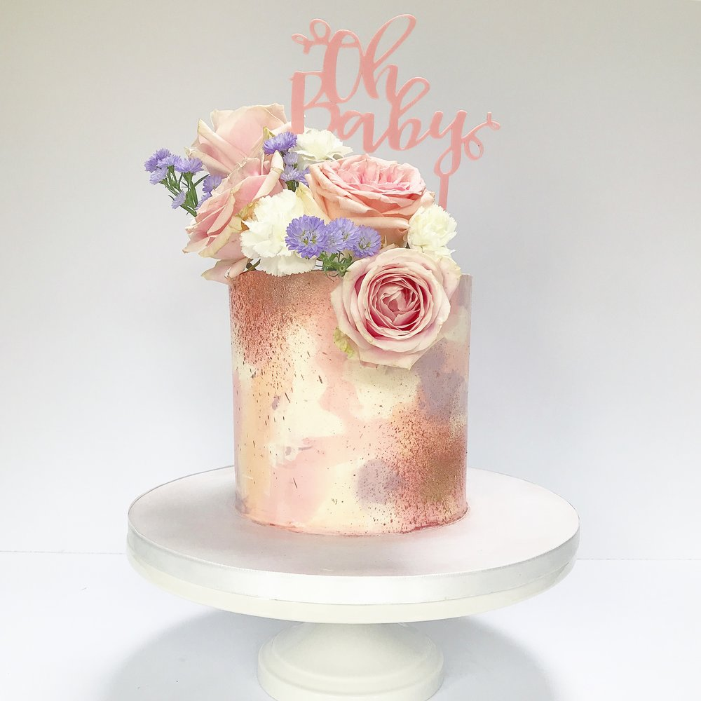 Pink and rose gold baby shower buttercream cake.JPG