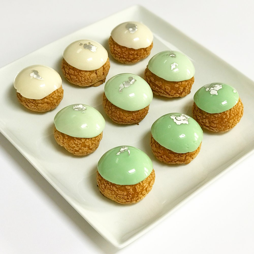 Mint green and silver ombre choux buns.JPG
