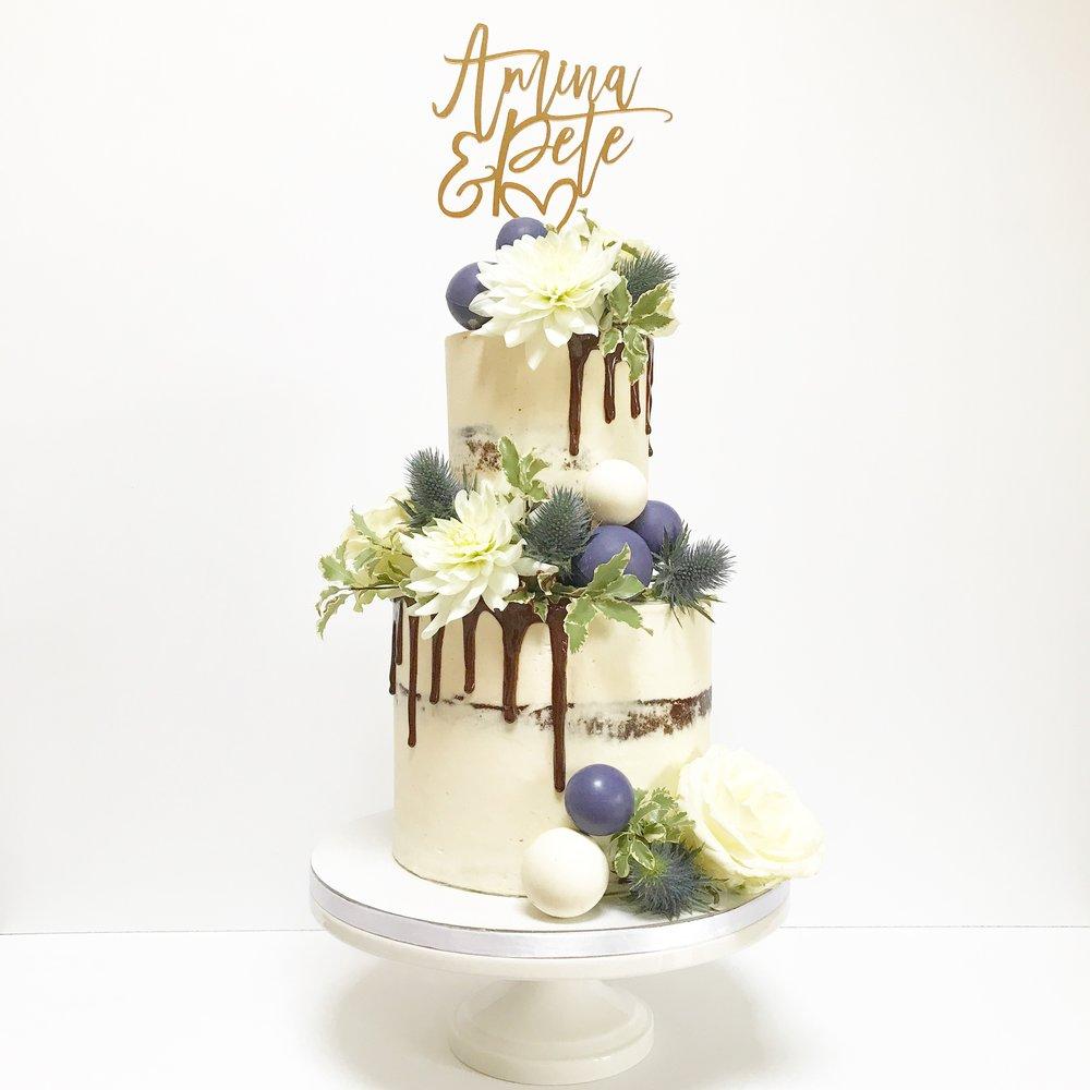 Semi-Naked Chocolate Drip Cake