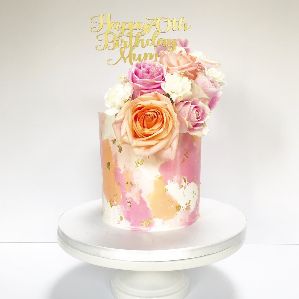 Pink, White & Orange Signature Abstract Design Cake