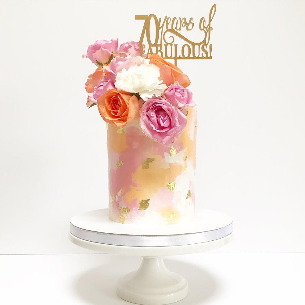 Pink, orange and white buttercream cake 2.JPG