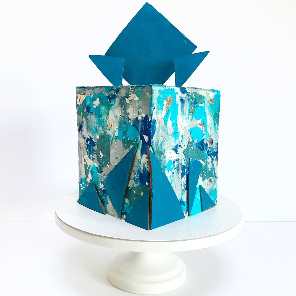 Blue and grey textured buttercream square cake.JPG