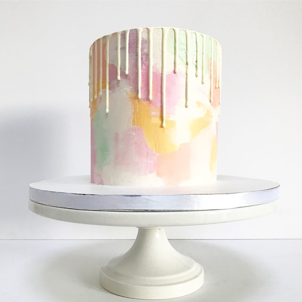 Watercolour buttercream cake with white drip in unicorn shades.JPG