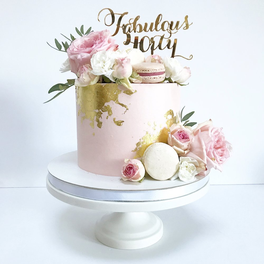 40th birthday cake with pink buttercream and edible gold.jpg