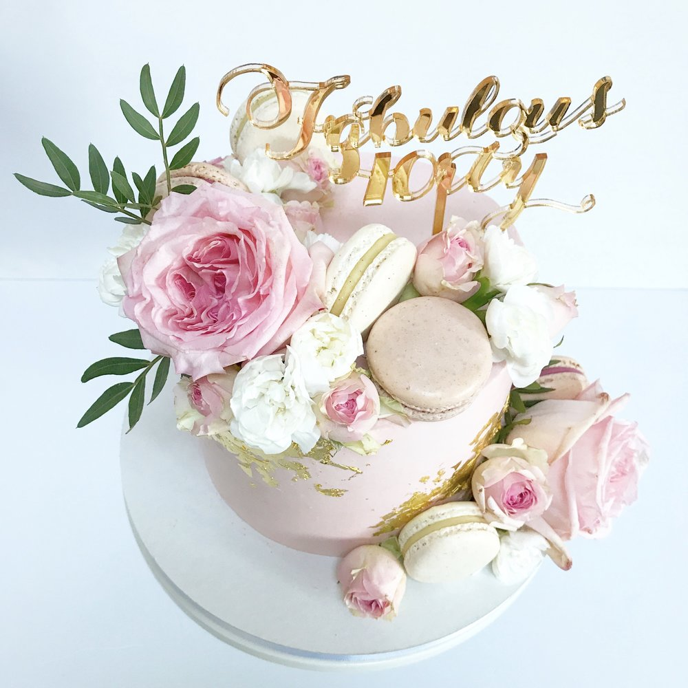 Pink and gold buttercream 40th birthday cake.jpg