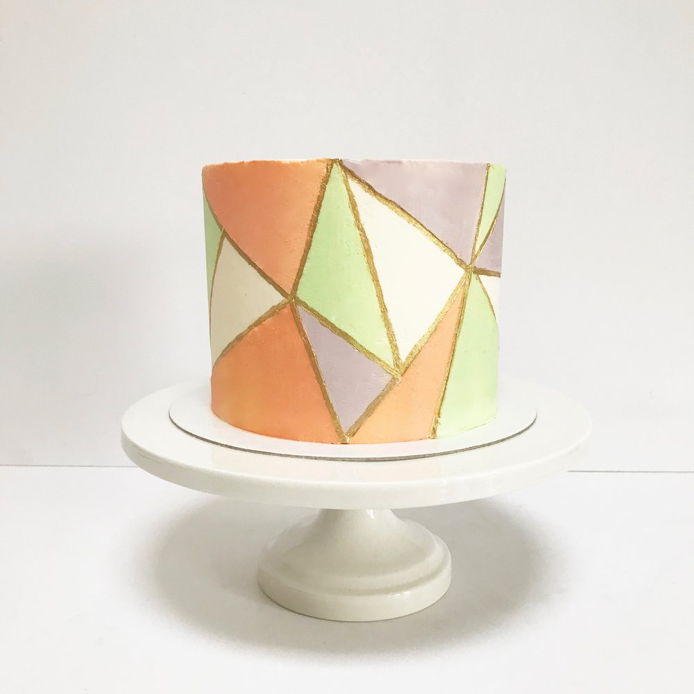 Pastel Geometric Buttercream Cake with Gold Accents.JPG