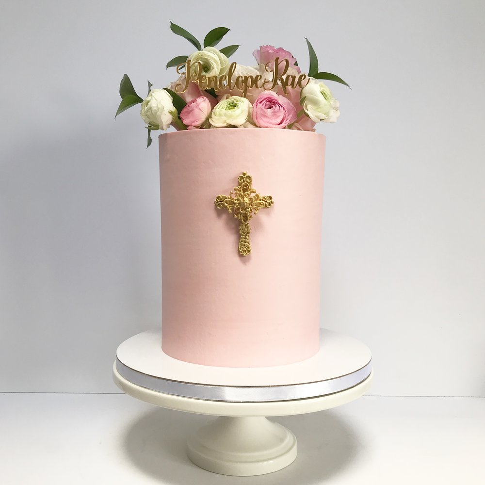 Pink and gold Tall Christening Cake.JPG