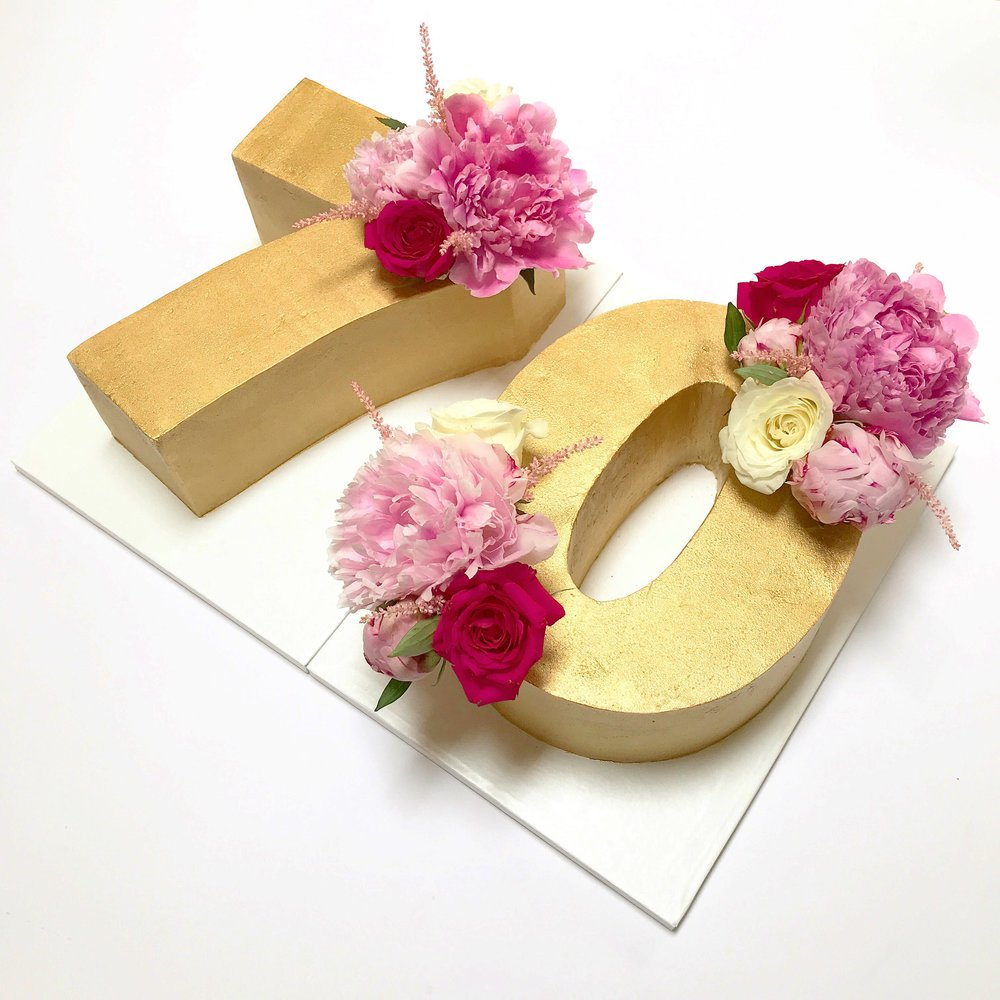 Golden number 70 buttercream birthday cake with pink flowers.JPG