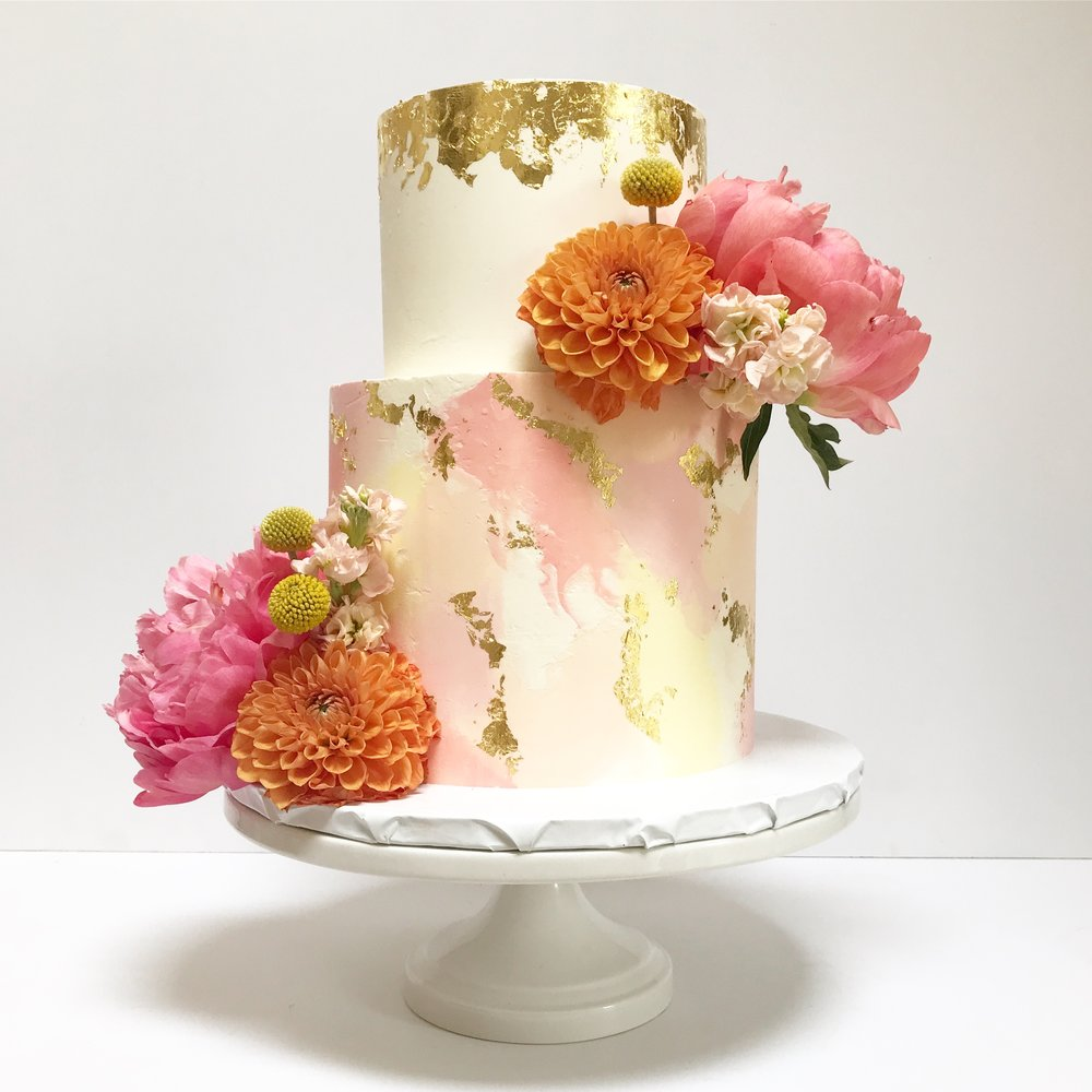 Coral and yellow pastel watercolour wedding cake.jpeg