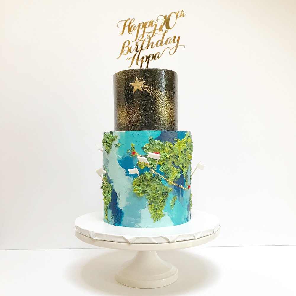 Two tier travel themed 70th birthday cake .jpeg