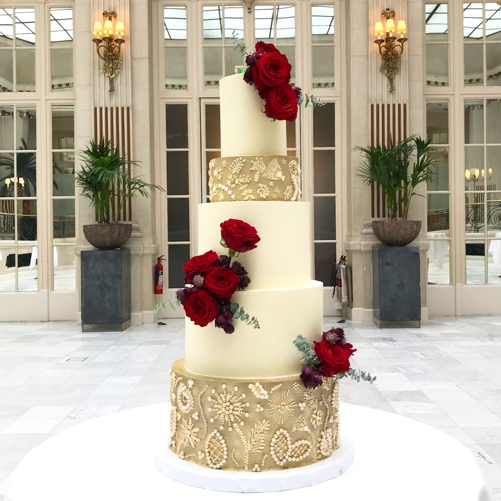 Five tier gold and burgundy buttercream wedding cake.jpeg