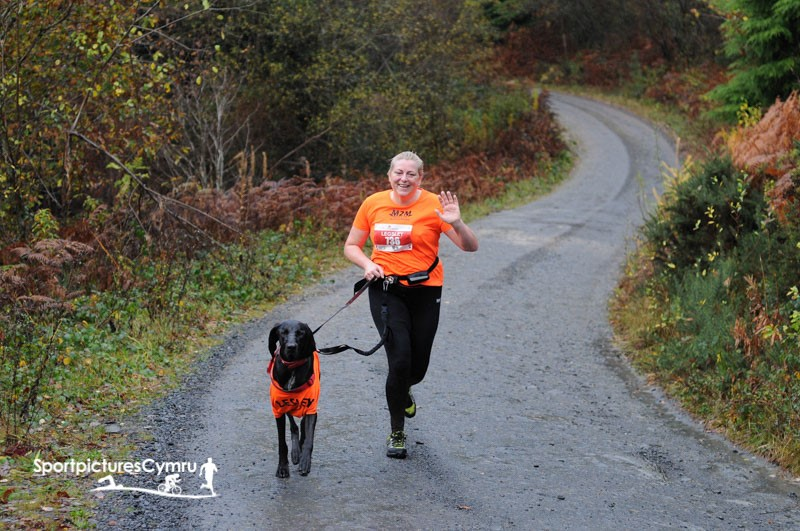Woman and her dog running the cannicross at betws y coed.