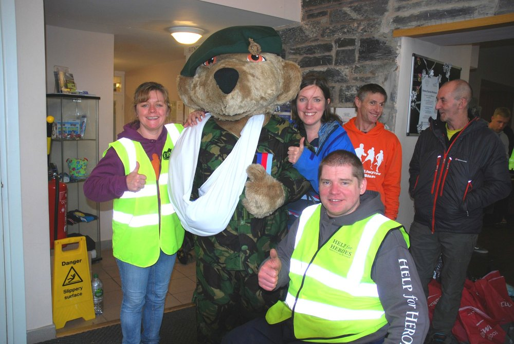 Hero Bear and team at the Waterloo Hotel, Betws-y-coed Trail Challenge 2015