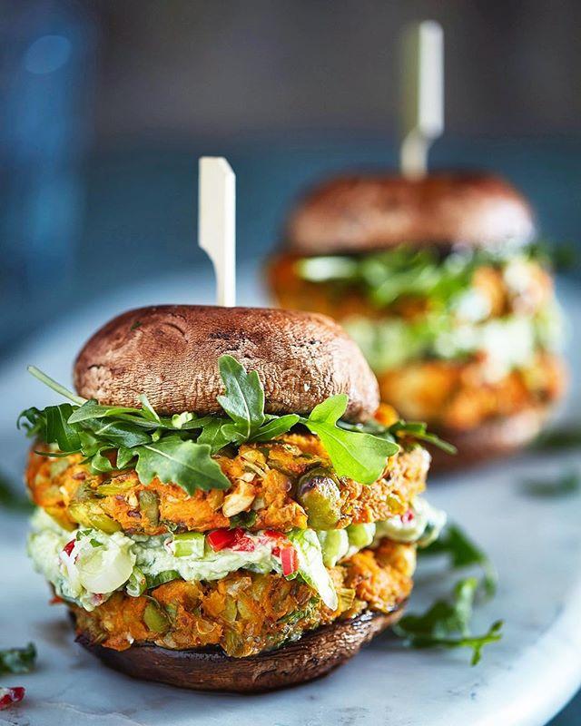 "The ""Mushroom Burger"" but not as you know it! Big portobello mushrooms make the ""buns"" filled with 2 hearty paprika, sweet potato and broad bean patties. Veggie heaven! #workinginfood #food #photography #foodphotography #mushroom #mushroomburger #portobello #portobellomushroom #veggie #vegatarian #veggiepatties #cookbook #healthy #burgers #veggieburger #studio"
