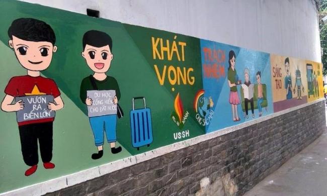 Bức tường được hoàn thành với nhiều màu sắc sống động của cuộc sống, nhắc nhở mỗi người về ý thức, trách nhiệm của mình đối với gia đình và xã hội.