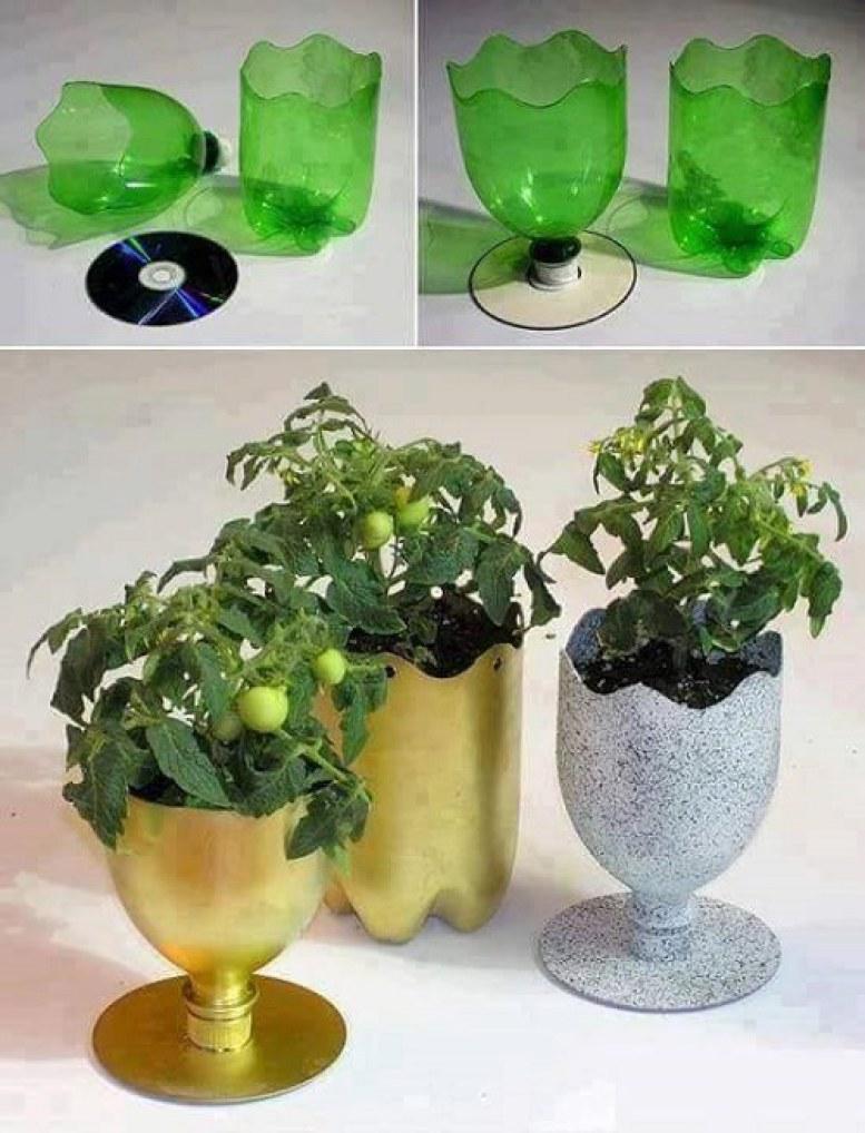 Kết hợp ly rượu với đĩa CD đã hỏng, bạn có ngay chậu trồng cây hình ly rượu siêu hay ho