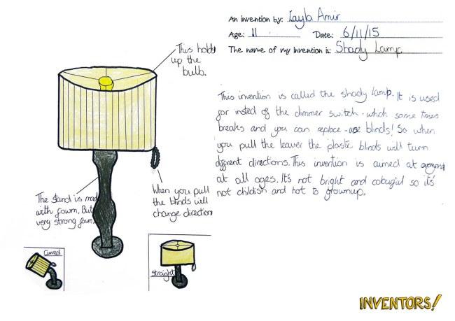 Chỉnh độ sáng của đèn, một ý tưởng thông minh của cô bé Layla Amir, 11 tuổi. Không cần sử dụng các thiết bị điện hay nút vặn, mà có thể dùng các thanh lam bao quanh đèn.