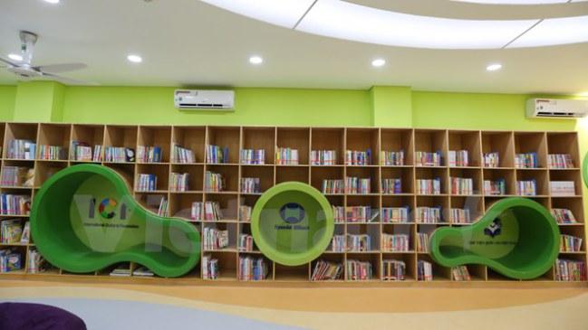 Thư viện Văn hóa Thiếu nhi Việt Nam được xây dựng nhân kỷ niệm 25 năm thiết lập quan hệ ngoại giao Việt Nam-Hàn Quốc và 100 năm thành lập Thư viện Quốc gia Việt Nam. (Ảnh: Minh Sơn/Vietnam+)