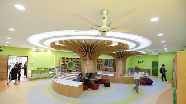 Thư viện hứa hẹn sẽ là một địa điểm mới về văn hóa, chắp cánh những ước mơ bằng tri thức, khoa học cho thiếu nhi Việt Nam cũng như trẻ em quốc tế sống và học tập tại đây. (Ảnh: Minh Sơn/Vietnam+)