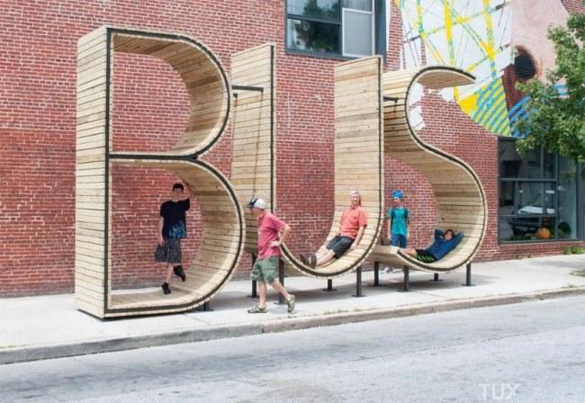 Ảnh: Một trạm chờ xe buýt cũng có thể biến thành điểm nghỉ ngơi thú vị (Baltimore, Mỹ).