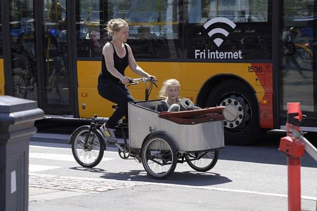 Ảnh: Một loại xe đạp đặc biệt được sử dụng ở Copenhagen