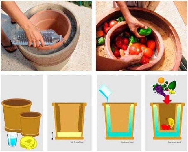 """Cấu tạo của chiếc """"tủ lạnh"""" gồm hai chiếc bình gốm to nhỏ được lồng vào nhau, khoảng trống giữa hai bình sẽ được đổ đầy cát ướt, còn bình gốm nhỏ sẽ dùng để trữ thực phẩm và đậy lại bằng một tấm vải ướt."""