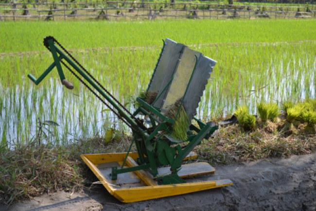 Máy cấy lúa quay tay không động cơ của ông Tư có năng suất bằng 6 người cấy thủ công. Ảnh: NVCC